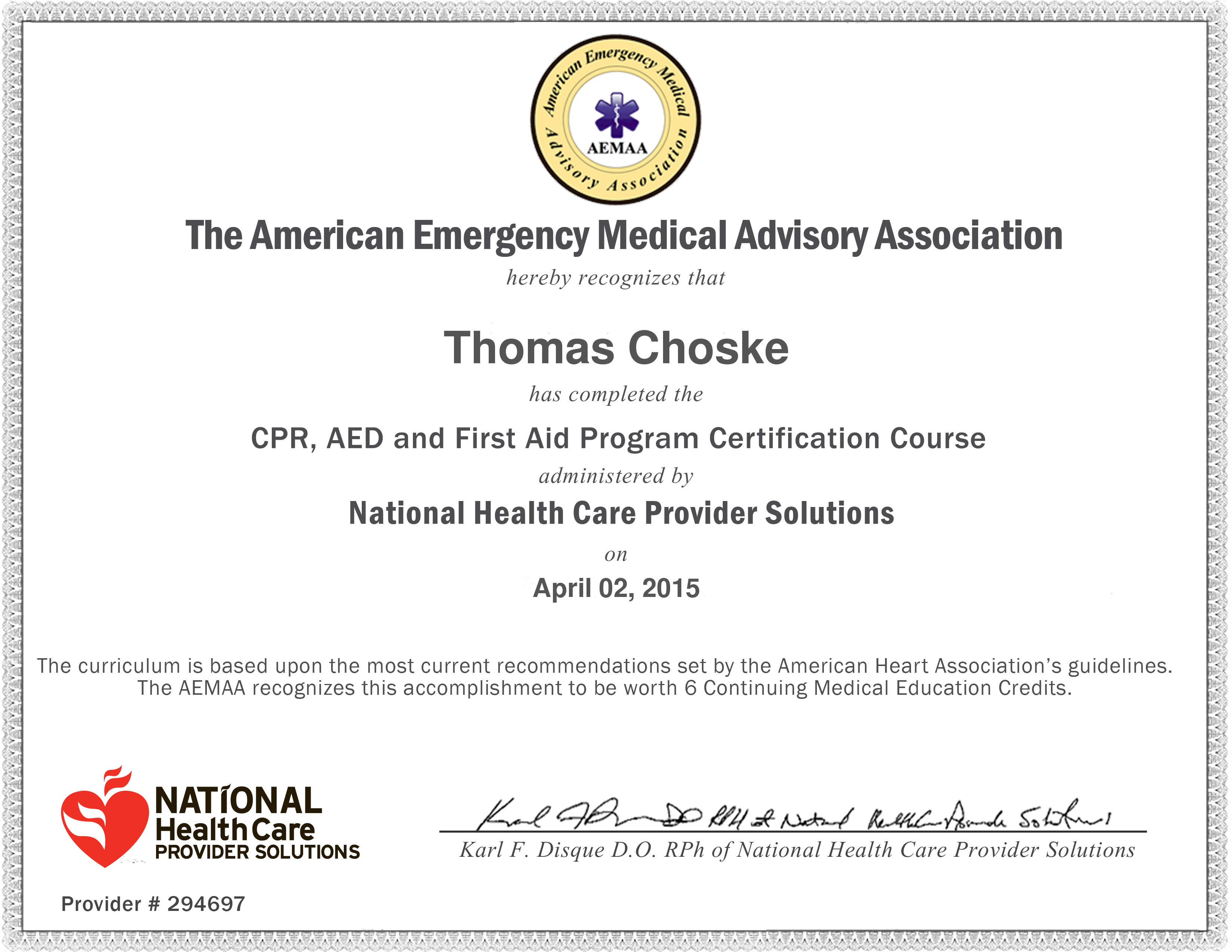 Certifications Awards And Training Tom Choske